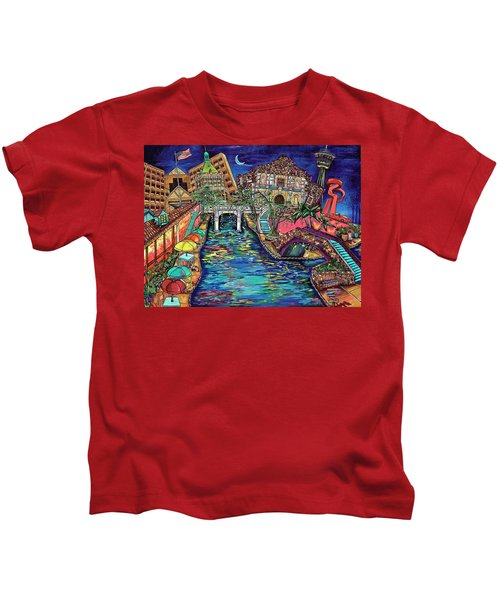 Lights On The Banks Of The River Kids T-Shirt