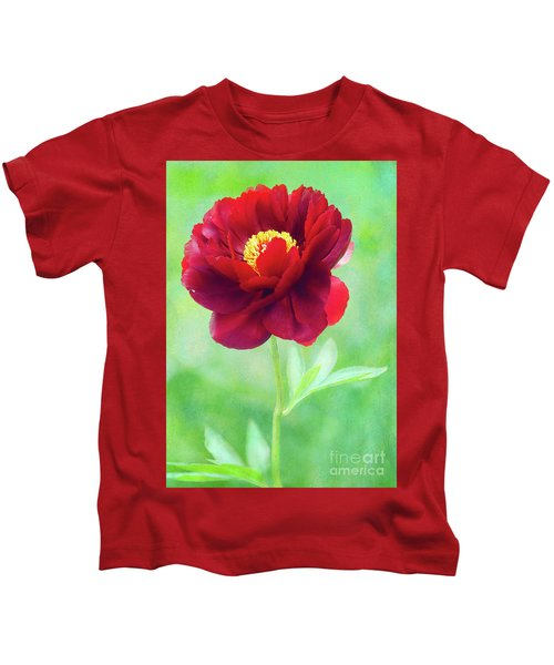 Magnificent Crimson Peony Kids T-Shirt