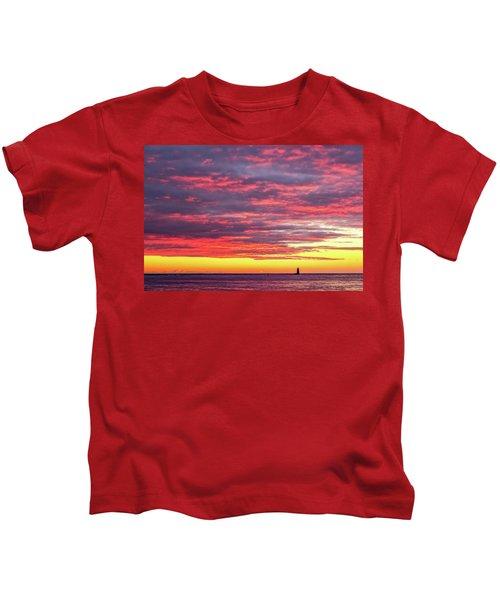 Morning Fire Over Whaleback Light Kids T-Shirt