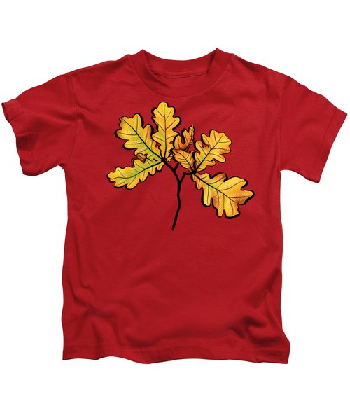 Oak Leaves Autumnal Botanical Art Kids T-Shirt