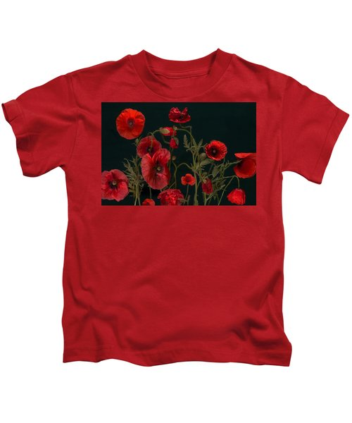 Red Poppies On Black Kids T-Shirt