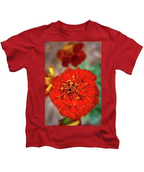 Red Summer Flowers Kids T-Shirt
