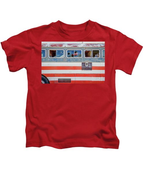 Red White And Blue Usa Flag Painted Bus Kids T-Shirt
