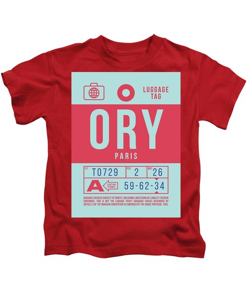 Retro Airline Luggage Tag 2.0 - Ory Paris Orly Airport France Kids T-Shirt
