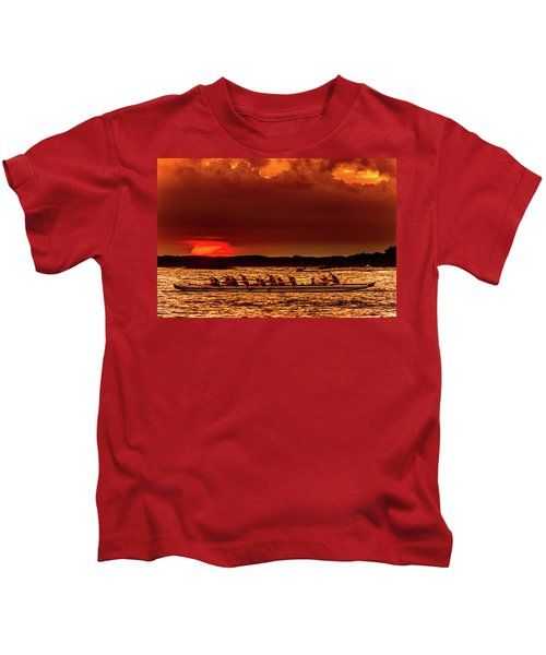 Rowing In The Sunset Kids T-Shirt