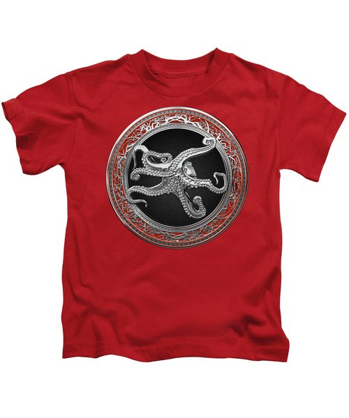 Sacred Silver Octopus On Red Leather Kids T-Shirt
