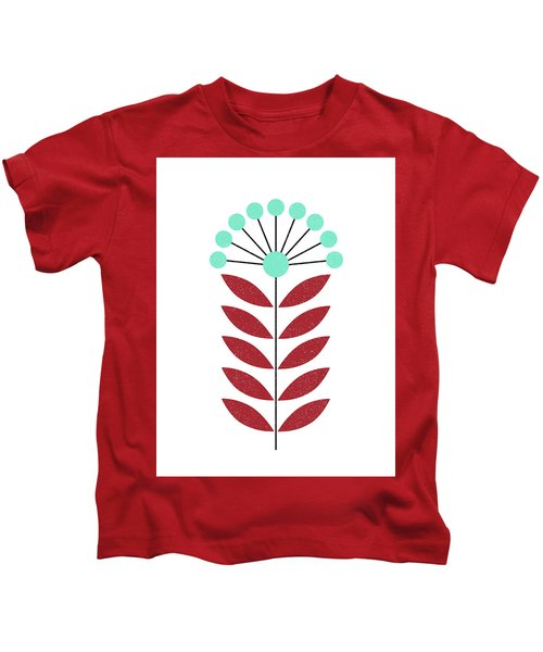 Scandinavian Aquamarine Flower Kids T-Shirt