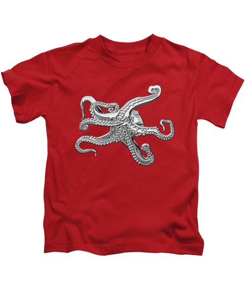 Silver Octopus On Red Canvas Kids T-Shirt