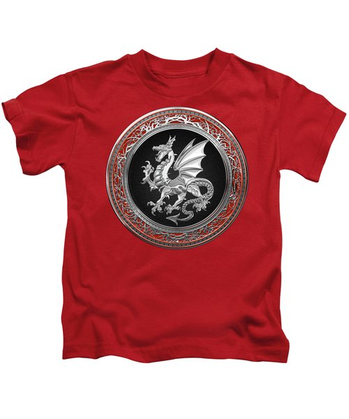 Silver Winged Norse Dragon - Icelandic Viking Landvaettir On Black And Silver Medallion Over Red  Kids T-Shirt