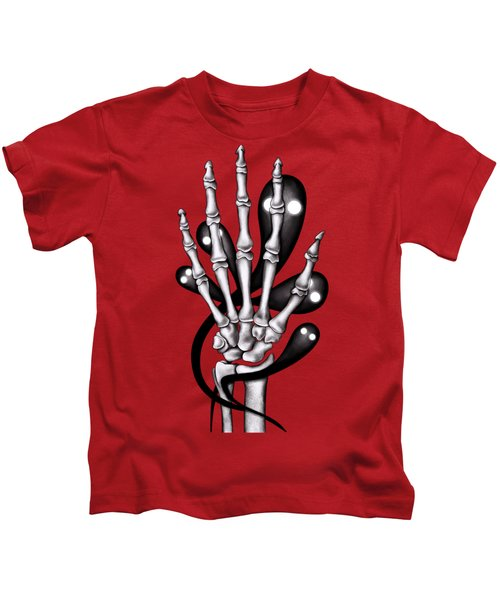 Skeleton Hand With Creepy Ghosts Kids T-Shirt
