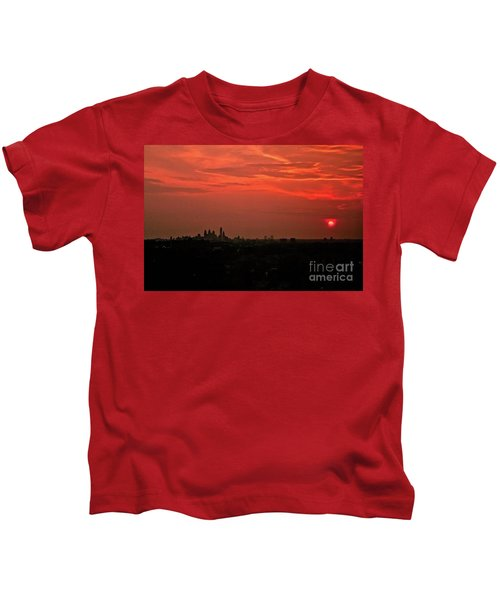 Sunset Over Philly Kids T-Shirt