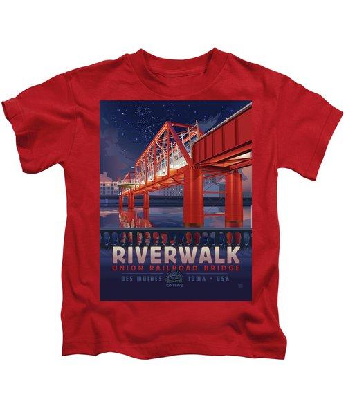 Union Railroad Bridge - Riverwalk Kids T-Shirt