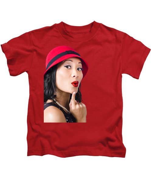 Young Asian Girl With Surprised Expression  Kids T-Shirt