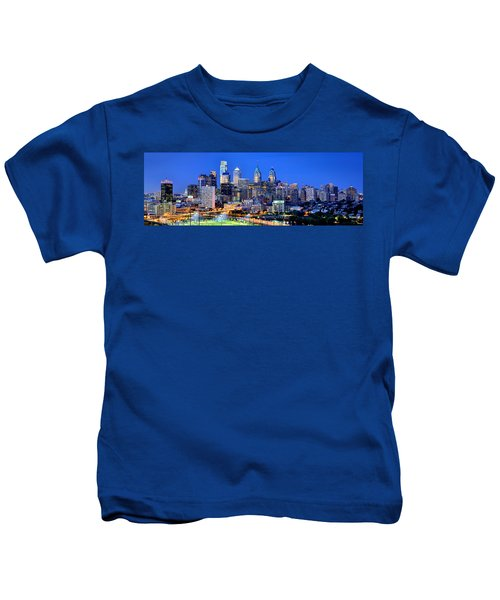 Philadelphia Skyline At Night Evening Panorama Kids T-Shirt by Jon Holiday
