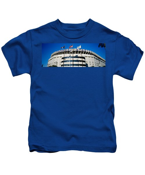 Flags In Front Of A Stadium, Yankee Kids T-Shirt by Panoramic Images