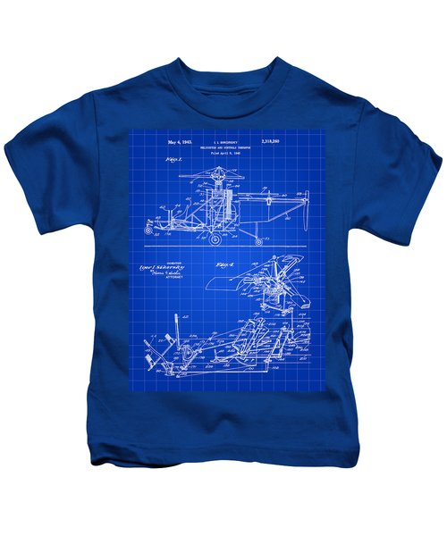 Helicopter Patent 1940 - Blue Kids T-Shirt
