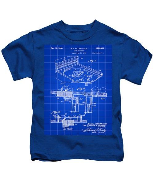 Pinball Machine Patent 1939 - Blue Kids T-Shirt by Stephen Younts