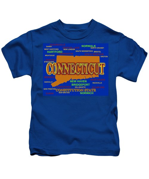 Connecticut State Pride Map Silhouette  Kids T-Shirt