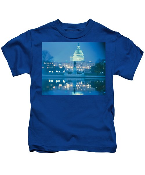 Government Building Lit Up At Night Kids T-Shirt by Panoramic Images