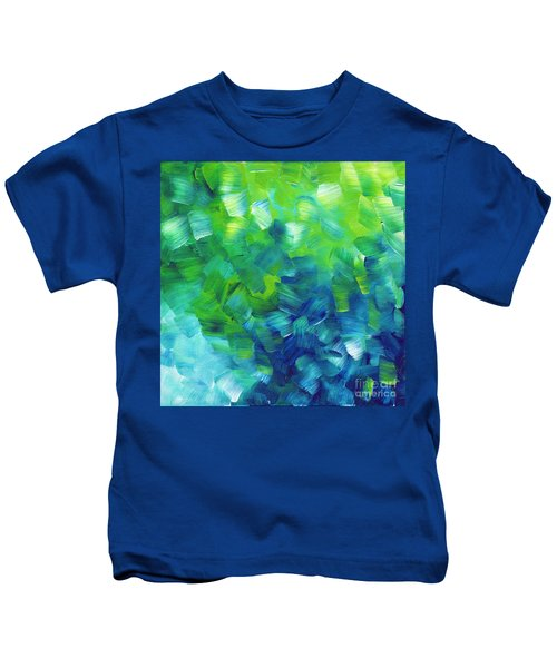 Abstract Art Original Textured Soothing Painting Sea Of Whimsy I By Madart Kids T-Shirt