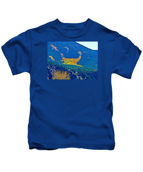 Autumn Patterns On Rocky  Mountainside In Clear Creek Canyon-colorado Kids T-Shirt