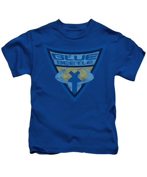 Batman Bb - Blue Beetle Shield Kids T-Shirt