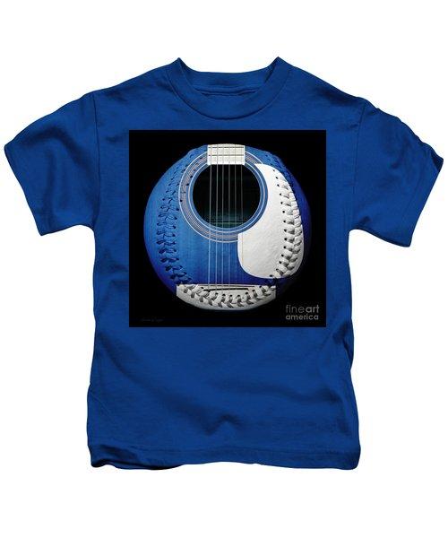Blue Guitar Baseball White Laces Square Kids T-Shirt