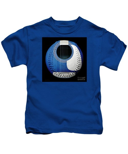 Blue Guitar Baseball White Laces Square Kids T-Shirt