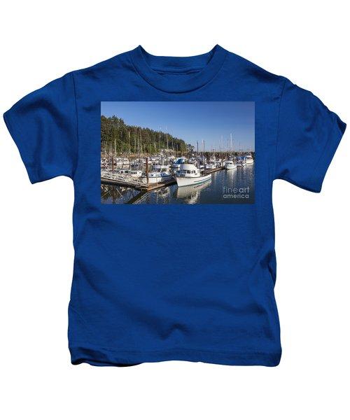 Boats Moored At Charleston Marina Kids T-Shirt