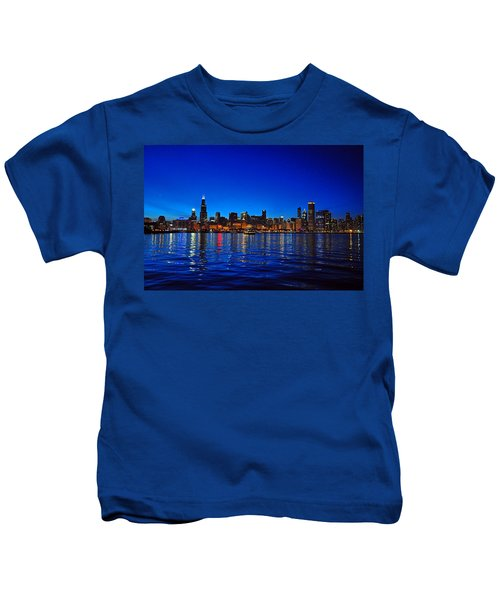 Chicago Skyline At Dusk Kids T-Shirt