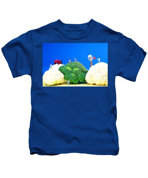 Farming On Broccoli And Cauliflower Kids T-Shirt by Paul Ge