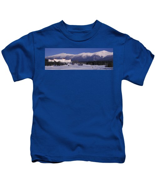 Hotel Near Snow Covered Mountains, Mt Kids T-Shirt