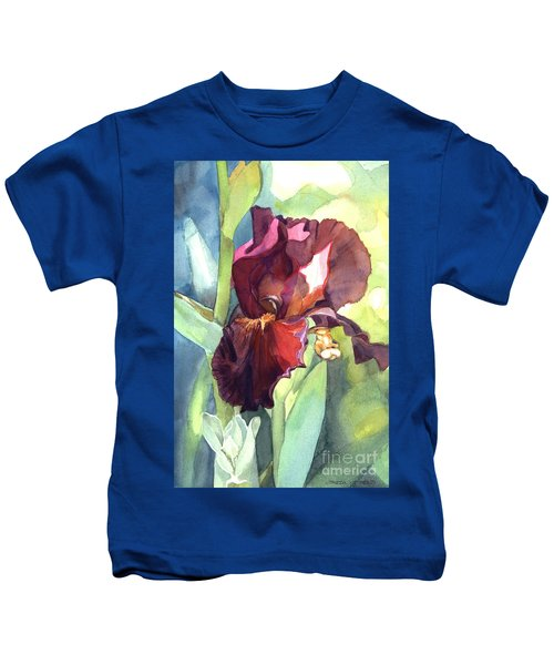 Watercolor Of A Tall Bearded Iris Called Sultan's Palace In Red And Burgundy Kids T-Shirt