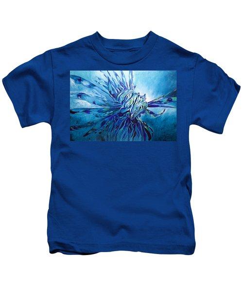 Lionfish Abstract Blue Kids T-Shirt