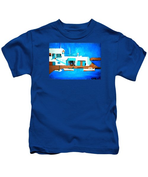 Kids T-Shirt featuring the painting Paros  Cute Spot On Greek Island by Colette V Hera  Guggenheim