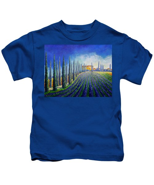Lavender Field Kids T-Shirt