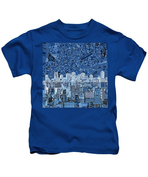 Nashville Skyline Abstract Kids T-Shirt by Bekim Art