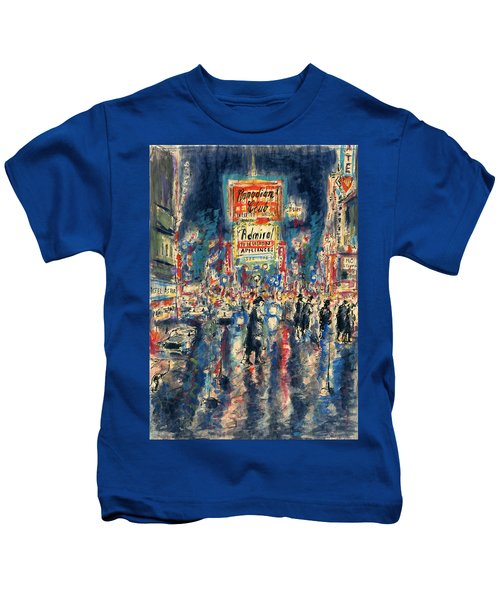 New York Times Square 79 - Watercolor Art Painting Kids T-Shirt
