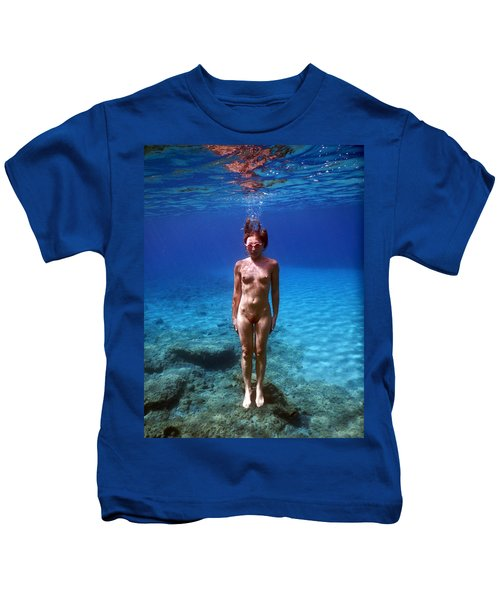 Nude Girl In To The Sea Kids T-Shirt