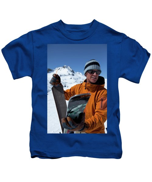 One Backcountry Skier Putting Skins Kids T-Shirt