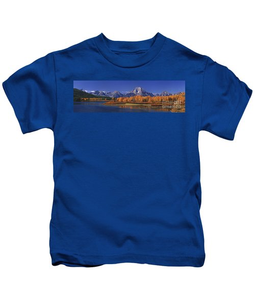 Panorama Fall Morning Oxbow Bend Grand Tetons National Park Wyoming Kids T-Shirt