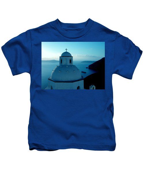 Kids T-Shirt featuring the photograph Peacefull Santorini Greek Island  by Colette V Hera  Guggenheim