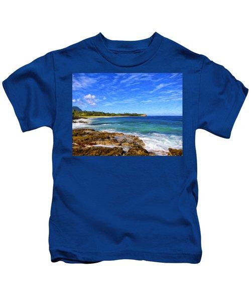 Rocky Shore Near Poipu Kids T-Shirt