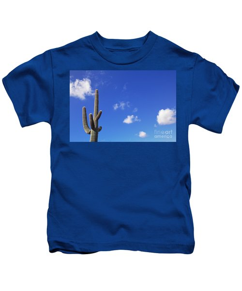 Blue Sky Saguaro  And Clouds Kids T-Shirt