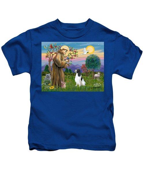 Saint Francis Blesses An English Springer Spaniel Kids T-Shirt
