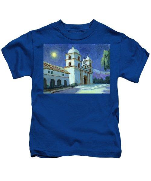 Santa Barbara Mission Moonlight Kids T-Shirt