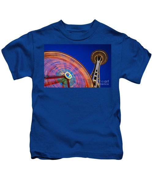 Space Needle And Wheel Kids T-Shirt