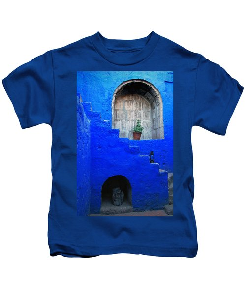 Staircase In Blue Courtyard Kids T-Shirt