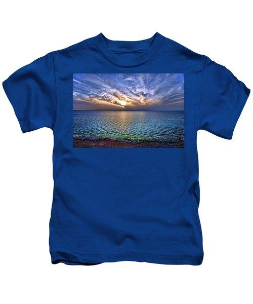 Sunset At The Cliff Beach Kids T-Shirt