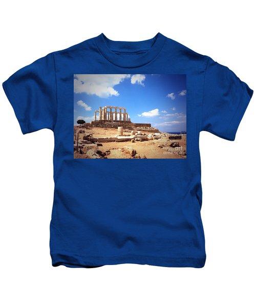 Temple Of Poseidon Vignette Kids T-Shirt